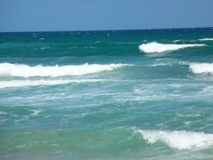 Waves from the ocean after stormy days in Delray Beach
